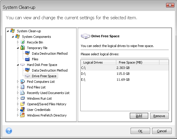 "After entering the ""Computers"" setting value, you can browse the search strings found by the System Clean-up Wizard in the registry. To do so, click Show Computers."