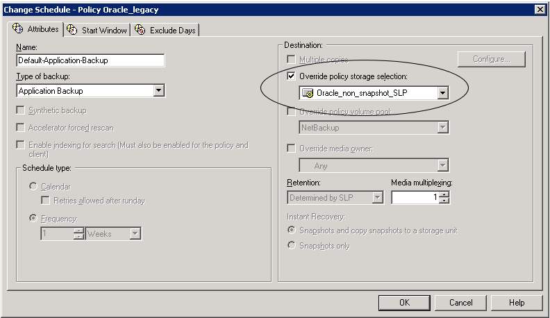 NetBackup for Oracle with Snapshot Client About Oracle support for Replication Director 176 is specified on the Attributes tab. Indicating it here makes the selection explicit.