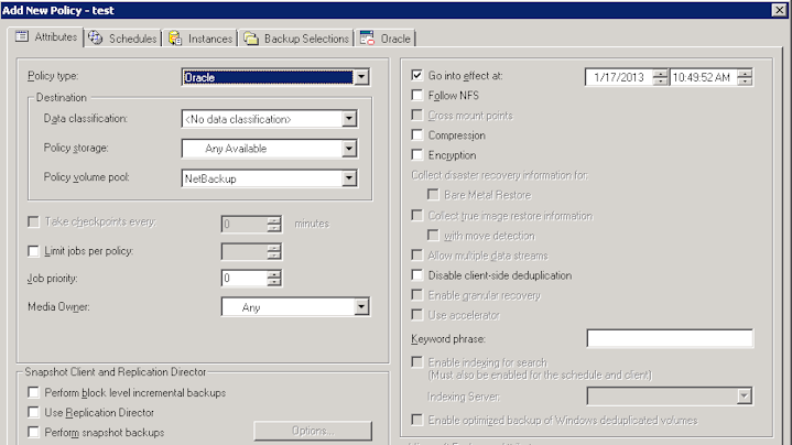 Oracle policy configuration About Oracle Intelligent Policies 67 6 In the Policy Type pulldown menu, select Oracle. In the Java GUI, also click the Apply button.
