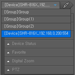 Connecting to or Disconnecting from the Device To connect to the device 1. Select a device to connect to. Only those devices or groups that are registered in the Setup menu will be listed. 2.