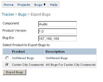 Interface to bug tracking tools QA managers can export newly discovered bugs from apprelay Test Center to the tracking tools used by their engineering teams.