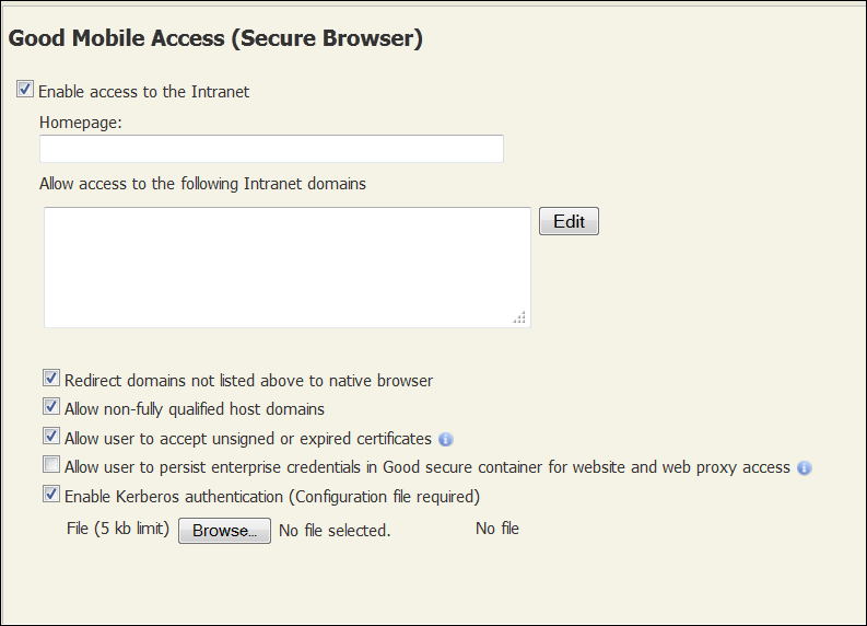 Enabling Secure Browser Enabling Secure Browser To enable Secure Browser for users via a policy and to set policies for intranet browser user: 1.