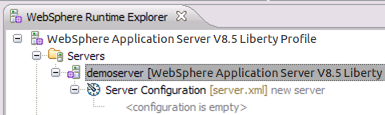 Create a lightweight WAS server in WebSphere Developer