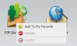 Right-click on an icon in the applications or management tab and click on the Add to My Favorite menu item from the command list that appears. 2.