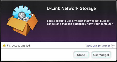 Section 5 - Knowledge Base D-Link provides an added feature called a Yahoo! Widget. Yahoo! Widget Installation What is a Yahoo Widget? Yahoo! Widgets are free application platforms that can be used in Microsoft Windows and Mac OS X.