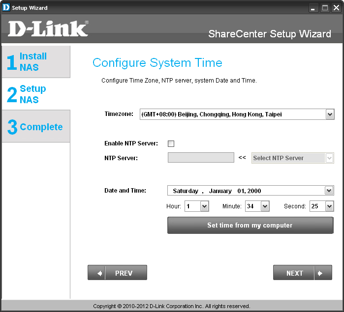 Section 3 - Installation DDNS Account and System Time If you want a DDNS account to use with your ShareCenter, D-Link provides a free DDNS account by clicking on the web link shown.