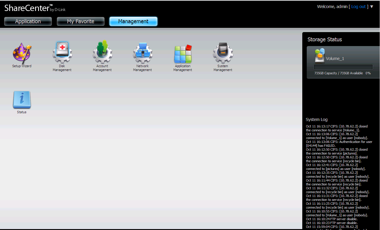 Management This tab contains the Setup Wizard, Disk Management, Account Management, Network Management,