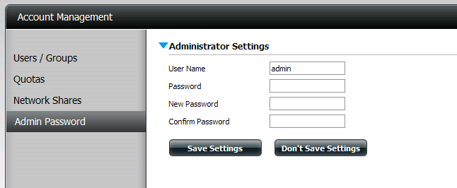 Username: The administrator user name is admin, and this cannot be changed. Password: Enter the current password.