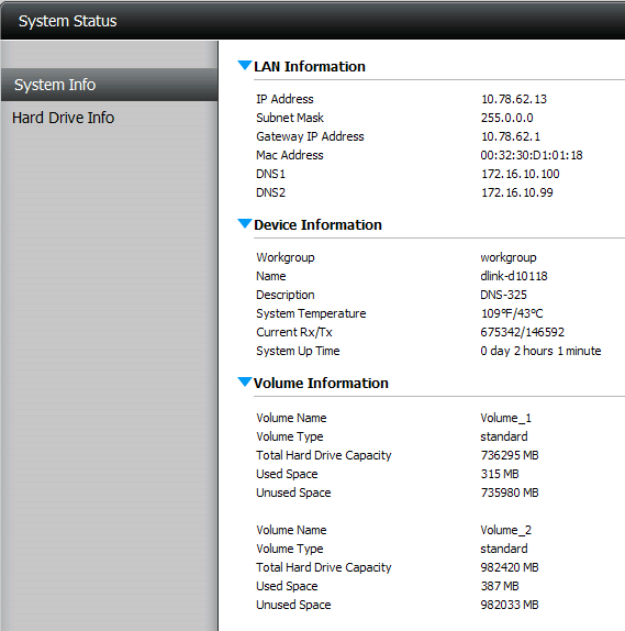 Status System Info. Here you can view various system information some of which is static and others dynamic.