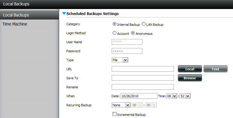 Local Backups Schedule local file and folder backups from the local network share of the device or from the local computer. Always test the URL before applying changes.
