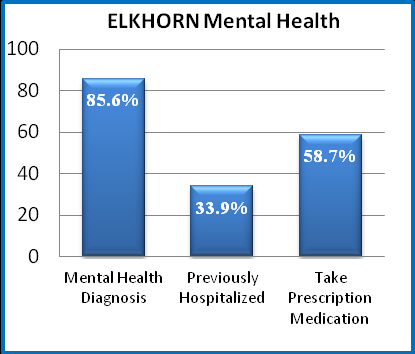 violence shelter. In contrast, 76.4% of the female offenders at Elkhorn report being victims of domestic violence, and 25.5% have stayed in a domestic violence shelter. 38.