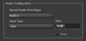 3.11 CONFIGURE AUDIO The Audio Configuration control group in the lower part of the Configuration panel has Input Type and Gain control features for the external audio source in the same input group