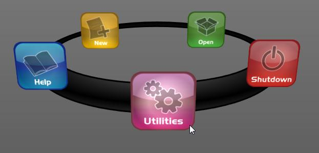 5.2.4 UTILITIES Figure 48 Selecting Utilities on the Home Page icon ring (Figure 48) presents a list of functions at right that have to do with the