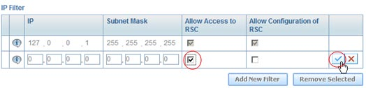 4. Edit the IP Filter table to allow computers to access RSC Console: In the IP Filter section,