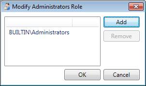 Figure 16: Settings: Security 2. Press the Modify button next to the selected role. The following dialog will be displayed: Figure 17: Modify Administrators Role dialog 3.