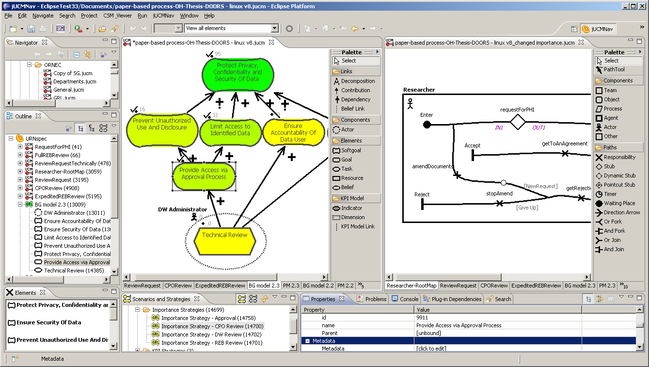 Figure 4. jucmnav tool for URN models The data exchange layer and integration with external tools was formalized in [28].