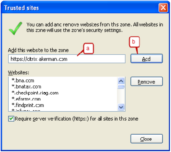 3. Delete any existing text in the Add this website to the zone: field. Type https://citrix.akerman.