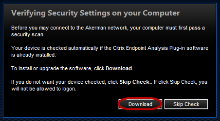 INSTALLING THE ENDPOINT ANALYSIS Before connecting to and using the Citrix Access Gateway for the first time, you will need to install the EndPoint Analysis (EPA) scanning client on your pc or laptop.