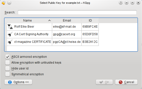 the key of the recipient and click Encrypt. The encrypted file will be saved with a.asc or.gpg extension depending on whether you chose ASCII armored encryption or not.