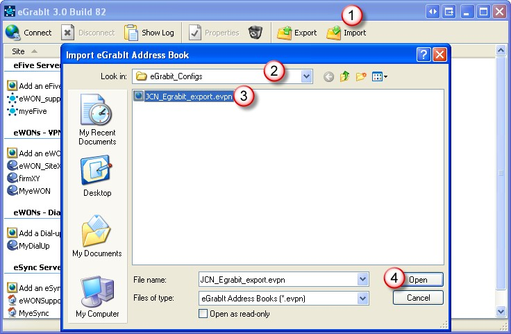 Add and Configure an efive VPN Server Chapter 6. Click on the Export icon in the menu bar (1).