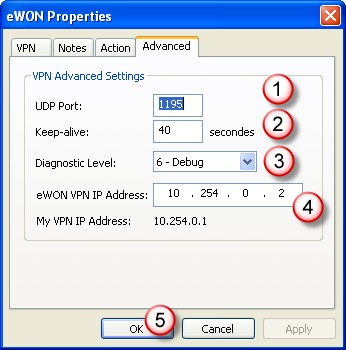 Add and Configure Other Devices Chapter 7. In the Advanced tab, you can select additional VPN parameters including UDP Port (1).