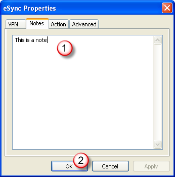 Click OK when done (2). In the Actions tab, you can optionally select the type of action (1) to execute automatically once the connection is established.