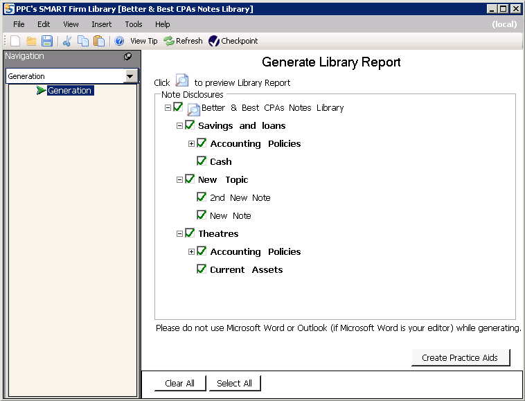 SPR User Guide Generating a Report of Firm Library Disclosure Notes You can generate a document containing the disclosure notes for a specific Firm Library using the Firm Library application. 1.
