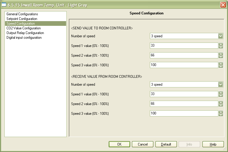 4.3 Parameter Window Speed configuration This window allows parameter settings for the 3 value % speed to send to room controller and the 3 value % associated to the 3 icon present on LCD display.