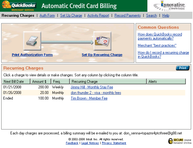 Automatic Credit Card Billing (ACCB) ACCB allows you to take reoccurring payments from your customers.