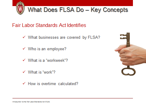 Introduction to Fair Labor Standards Act 31 Se 2: Almost every employee in the United States is protected by the federal FLSA.