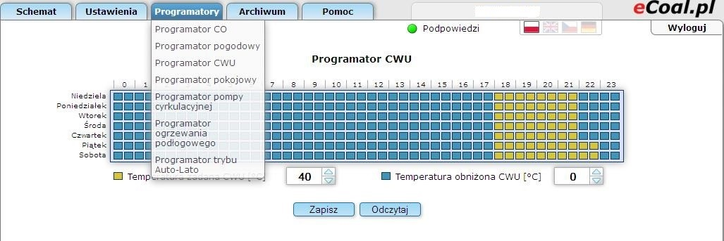 Fig. 18: Advanced parameters window Weekly schedule for CH programmer is shown