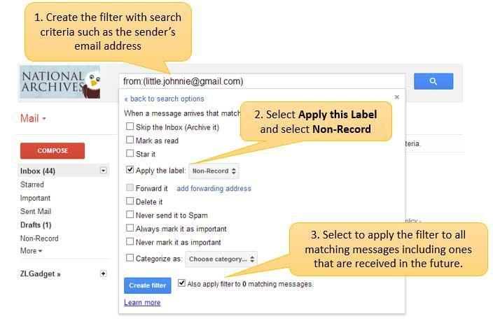 6. If you would like to automatically label messages with the Non-Record label then follow the procedure in the previous section, Applying Labels Automatically with Filters, to create filters that