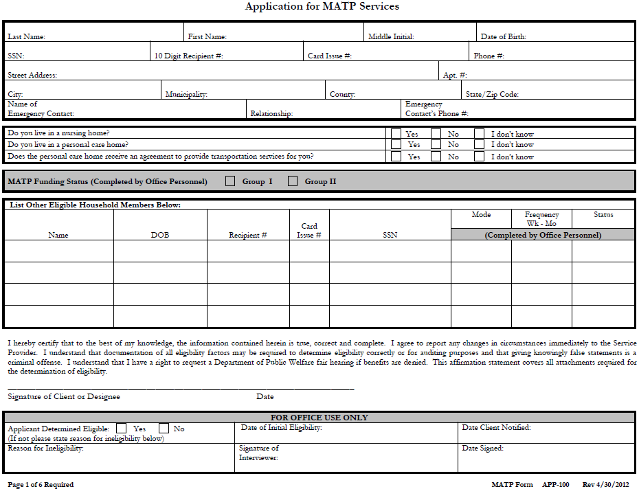 FORMS FORM I: MATP APPLICATION