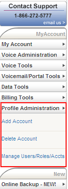 Profile Administration Menu Use the Profile Administration menu to add and delete accounts as well as VoiceManager s users, their