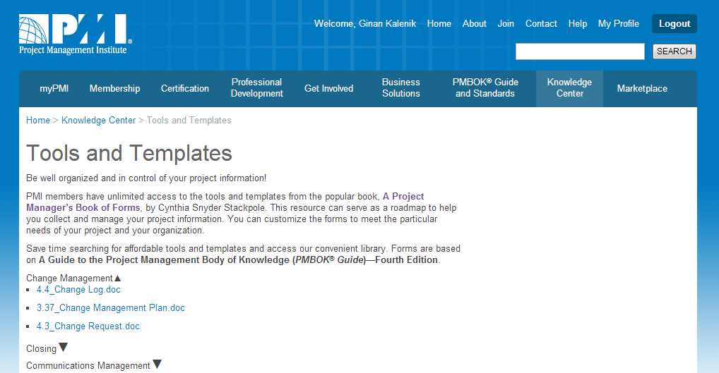 PMI.org Tool and Templates PMI