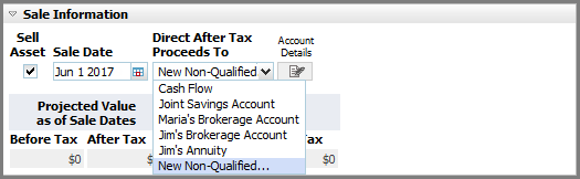 NaviPlan Premium Learning Guide: Investment accounts Direct After Tax Proceeds To list Figure 17: Lifestyle Asset Details dialog box Sale Information details (showing Direct After Tax Proceeds To