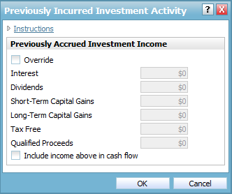 Model investment accounts with holdings Previously Incurred Investment Activity dialog box Figure 23: Enter Financial Data section Net Worth category Accounts page Previously Incurred Investment