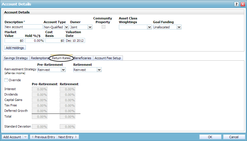 Classify holdings to establish a rate of return Return Rates tab Figure 27: Account Details dialog box Return Rates tab Return rates are based on a weighted average of all holdings in the account.