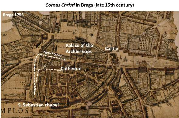 Figure 11 - Corpus Christi procession in Oporto, in the late 15 th century (proposed route).