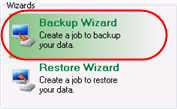 Creating a Backup in Advanced View Step 1 Click Backup Wizard on the Home tab. Step 2 The Backup Wizard will appear.