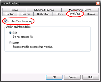 Click the Anti-Virus tab and select Enable Virus Scanning.