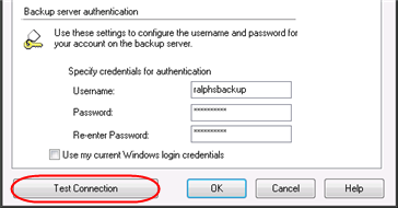 Step 5 Enter the Username you chose when you added the Online Backup service, and then enter and confirm your Password.