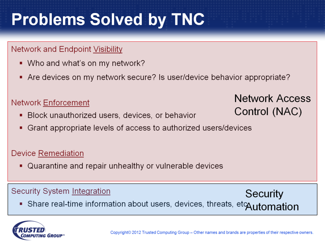 Let s talk about what TNC does for you. First, TNC gives you the ability to see who s on your network, what devices are in use, are those devices secure, and is the behavior appropriate.