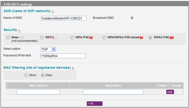2.5.2 SSID parameters and MAC filtering The SSID Wi-Fi parameters screen allows you to change the name of the Wi-Fi network (the default name is VodafoneMobileWiFi-xxxxyy where the xxxxyy represents