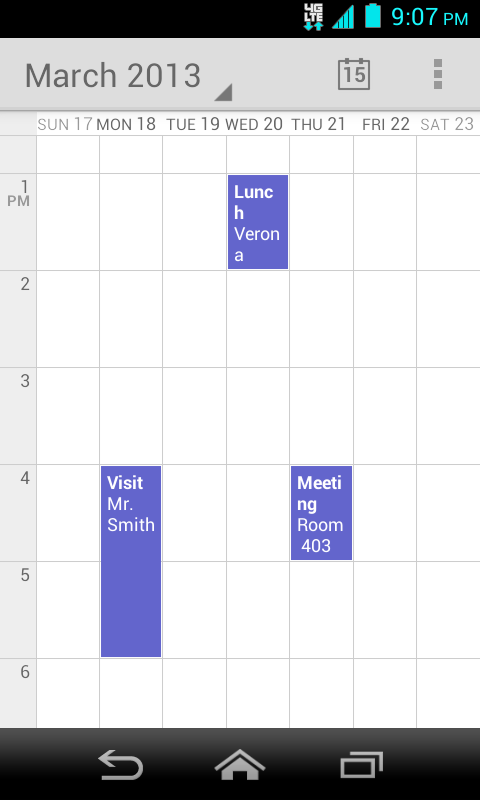 When in Day view, slide left or right across the screen to view earlier or later days. Week View Week view displays a chart of the events of one week.