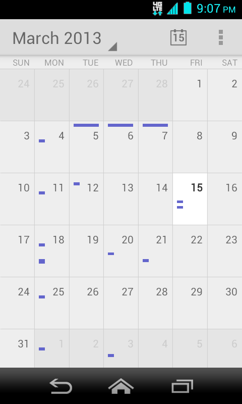 Month View In Month view, you ll see markers on days that have events. When in Month view: Touch the today icon to highlight the current day. Touch a day to view the events of that day.