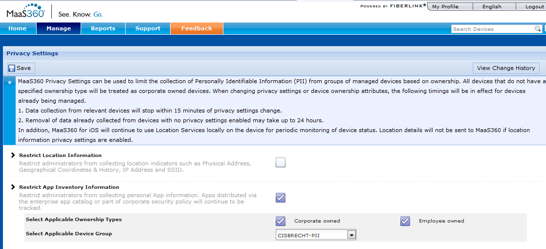 Set BYOD Privacy Settings Disable collection of PII on a single device, all devices, or a