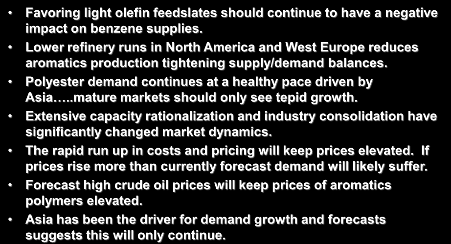 Aromatics Long Term Outlook Favoring light olefin feedslates should continue to have a negative impact on benzene supplies.