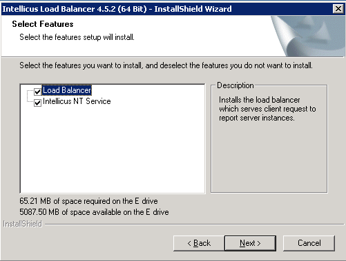 Select the target folder to install the load balancer binaries. The load balancer installer also contains Intellicus Service.
