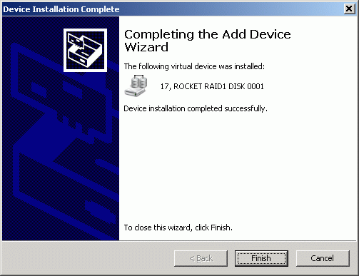 Wizard informs that the device has been successfully created.